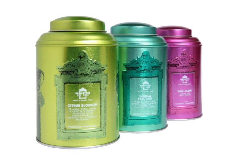 3 coloured 150 gr tins