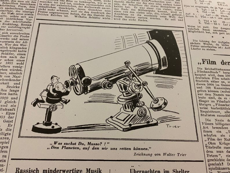 """Karikatur von Walter Trier in """"Die Zeitung"""""""